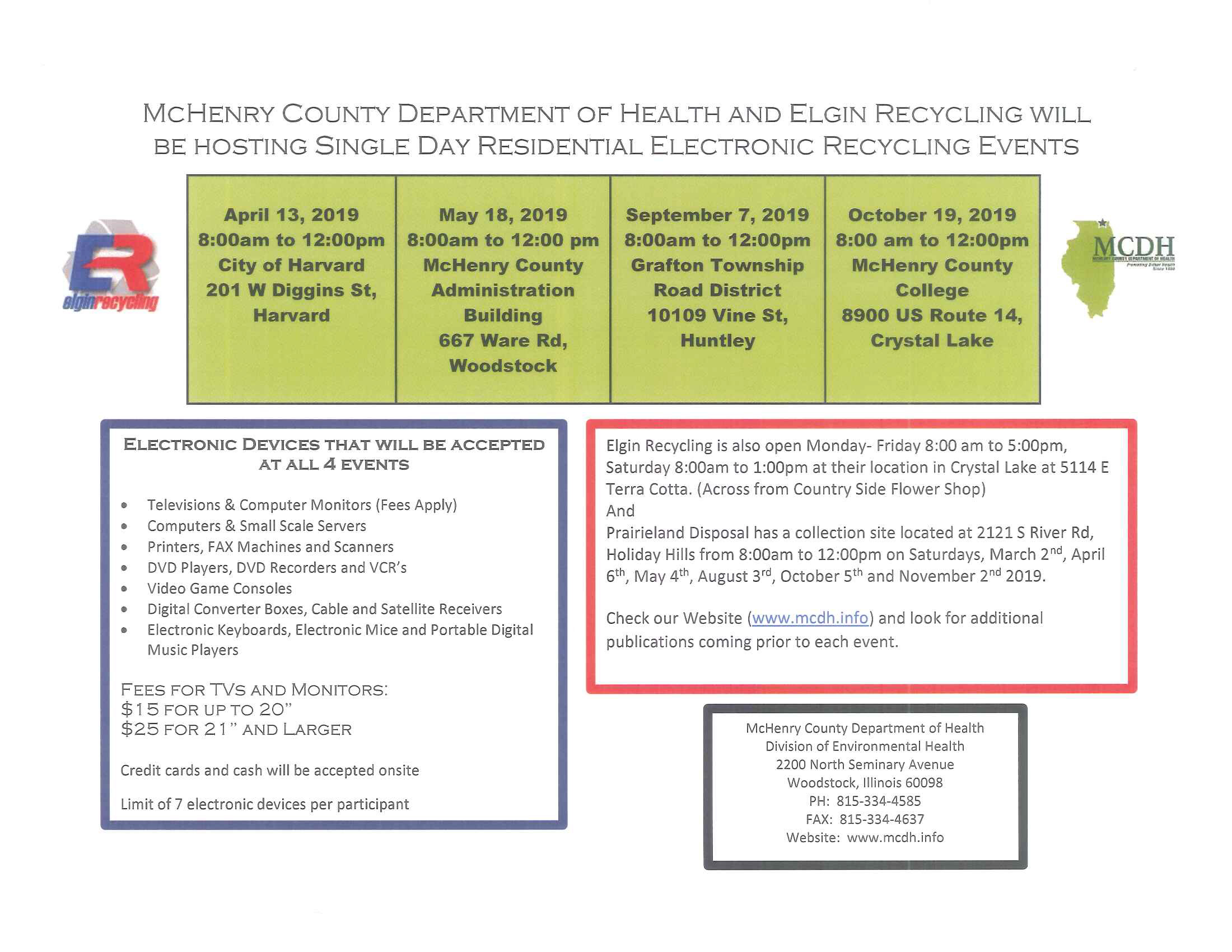 Single Day Residential Electronic Recycling Events – Dorr